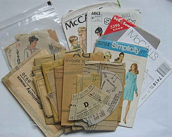Sewing Ephemera Lot #2, Empty Pattern Envelopes, Sewing Pattern Pieces Tissue for Crafts, Collage, Decoupage
