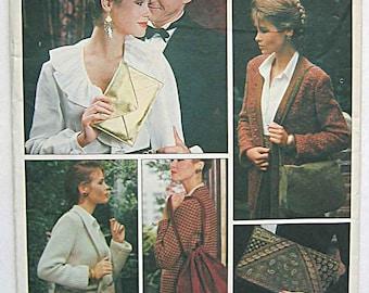 Vintage Vogue 2825 Sewing Pattern, Misses' Handbags, Bags, Purses, Saddle Bag, Clutch UNCUT