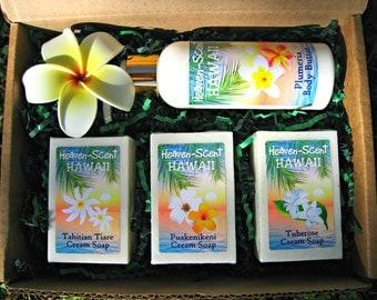 HAWAIIAN GIFT BOX - Body Butter and Soaps. Scents include Plumeria, Gardenia, Tuberose and Puakenikeni or Pikake.