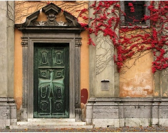"Fine Art Color Architecture Photography of Door - ""Doorway and Ivy in Ljubljana"""