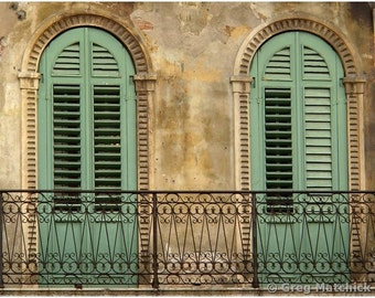 """Fine Art Color Architecture Photography of Shutters in Verona - """"Two Green Shutters in Verona"""""""