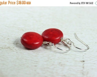 20% Off Sale Red Earrings, Red Jewelry, Red Disc Earrings, Red Stone Earrings, Gift For Her, Red And Silver Earrings, Everyday Earrings, Ask