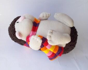 sock hedgehog, plush hedgehog, soft sculpture hedgehog, toy hedgehog, plushie, sock animal, sock creature, sock toy