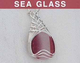 Lundberg Red & White Sea Glass Pendant