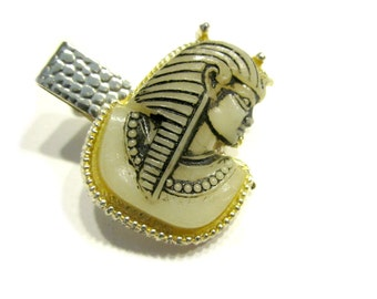 Vintage Egyptian Tie Clip Pharaoh Head Celluloid Plastic King Tut Head Gift for Dad Gift for Him Vintage Mens Jewelry Suit Tie Accessories