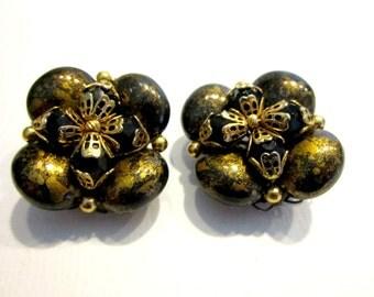 Vintage Black Gold Bead Clip Earrings Beaded Marbled Filigree Vintage Clip On Earrings