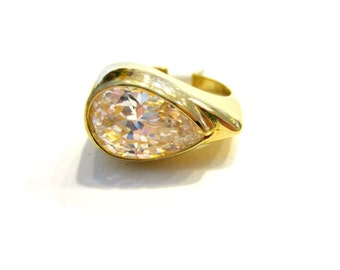 CZ Ring Huge Pear Size 10 Brilliant CZ Bright 8 carat Vintage New Old Stock w tags Gift for Her Under 20
