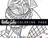 50% Off- Pug coloring, coloring book, adult coloring book, coloring pages, adult coloring pages, coloring book for adults, printable colorin