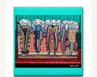 55% Off- Dental art tile print on ceramic by Heather Galler abstract anatomy science Dentist Teeth Tooth folk Art (HG858)