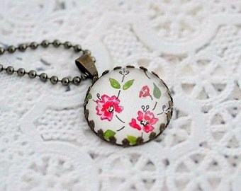 Pink Flower Necklace- Vintage Style Necklace- Art Pendant- Pink Flower Pendant- Pink Flower Charm- Boho Necklace- Pink Jewelry- Gift for Her
