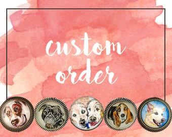 Custom Dog Necklace- Pet Portrait Necklace- Custom Dog Jewelry- Reserved for Matt