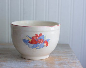 Vintage Universal Cambridge Pottery Serving or Mixing Bowl - Calico Fruit Pattern - Country Farmhouse Kitchen