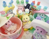 Tea Bunnies By Tomy Lot Vintage Poseable Pastel Rabbit Toy Figures Tea Cups Kawaii Collection Fairy Kei Flower Rabbit Easter Spring