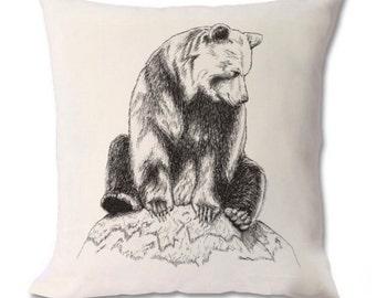Bear on Mossy Rock Cushion