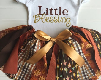 Fall Baby Outfit - Baby Girl Fall Outfit Thanksgiving Outfit Fabric Tutu Skirt Brown Orange Gold Tutu Skirt Outfit Blessing Harvest Onesie