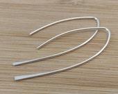 Sterling Silver Open Hoops. Stick Earrings. Leaf Earrings. Open Hoops. Everyday Modern Earrings. Long Silver Earrings. Minimalist Jewelry.