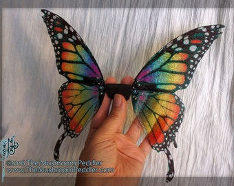 Fairy Doll Wings - Handmade - Butterfly - Rainbow Monarch Large with tails