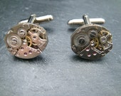 Industrial Watch Movement Cufflinks with genuine swiss watch movements