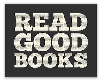 Read Good Books Art Print, Reading Poster typography