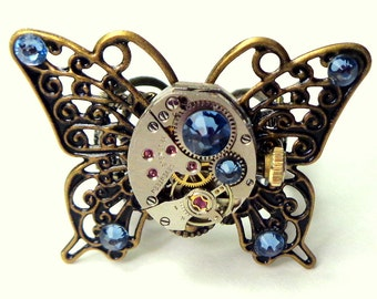 PS,Steampunk Butterfly Ring,Steam Punk Ring,Filigree Butterfly,Antique Ruby Jeweled, Watch Movement,Cosplay,Gothic Jewelry, Blue Crystal