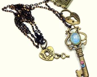 Gemstone, Lock and Key Necklace, Turquoise, Rainbow Moonstone, Swarovski Crystals, Chocolate Gold Tone,Black Enamel Chain, OOAK