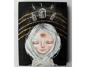 folk art Original girl painting mixed media art painting on wood canvas 8x6 inches - I can see clearly now