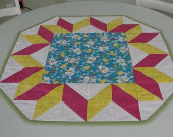 Easter Spring Bunny Chick Pink Yellow Blue Quilted Table Topper