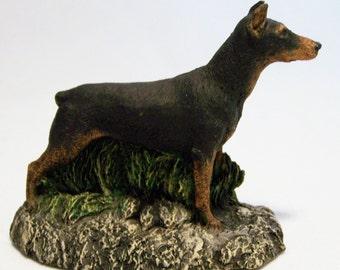 Aus Ben 1979 Doberman Pinscher Dog Hand Painted Bronze Marsha Richardson 816DGZ