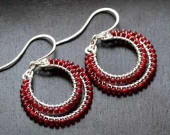 Red beaded dangle hoops, seed bead drop earrings, Czech glass, sterling silver, wire wrapped hoop, dangle hoop, Mimi Michele Jewelry