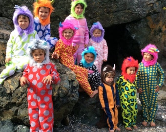 Monster Halloween Costume Design your own Monsters Inc. Kids Costume Mix and match hoods and suits sizes 4-7 also available in 1-3