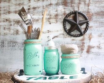 Mason jar kitchen set, mason jar decor, mason jar soap pump dispenser, country kitchen decor, rustic kitchen