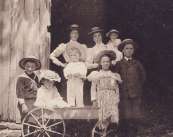 Children On Old TOY WAGON With Mothers Looking On Photo Circa 1900