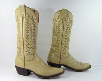 vintage cowboy boots womens 6 C bone antique white nocona western leather