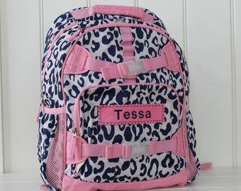 Small Girls Backpack With Monogram (Small Size) -- Navy/Pink Cheetah