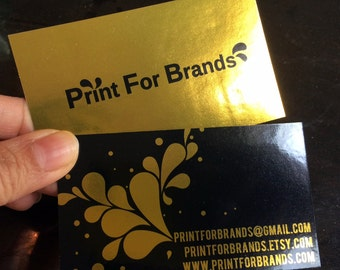 500 Business Cards - inline metallic foil with spot UV - 16 PT cover stock - custom printed