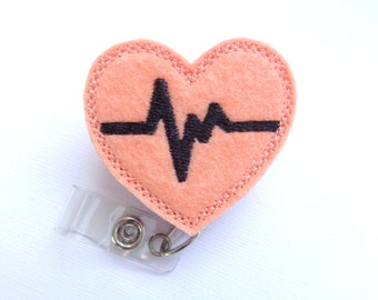 Badge holder retractable - nurse badge reel - Heartbeat EKG peach felt with black - Nurse RN doctor medical badge reel - id holder