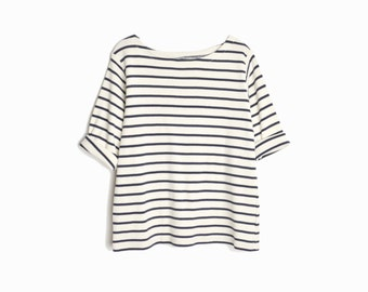 Vintage Nautical Striped Top / Navy Blue & Ivory Tee - women's medium