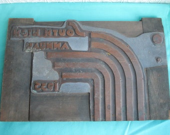 YEAR BOOK COVER Antique Printer Block Press Jumbo 1935 South High Annual Printing Yearbook