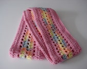 Handmade Crochet Light Pink and Pastel Rainbow Infinity Continuous Circular Circle Loop Scarf Soft Warm Neck Wrap for Women and Teens