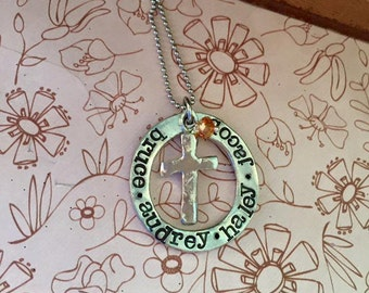 NEW-Blessed Family Hand Stamped Necklace