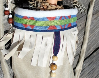 Native American Girl Indian Papoose Baby doll  carrier fits 18 inch doll