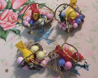 tiny birds nests ornaments