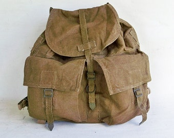 Vintage Army Surplus Backpack- Rucksack - Heavy Canvas and Leather