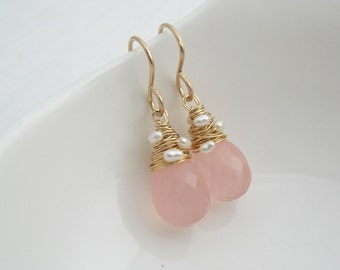 Rose Chalcedony with woven pearls