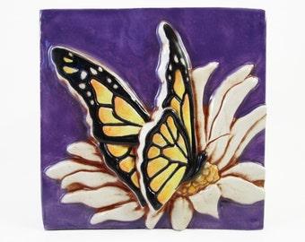 Ceramic Art Tile, Butterfly - Royal Purple, 4 x 4 Handmade Tile, Ceramic Wall Art