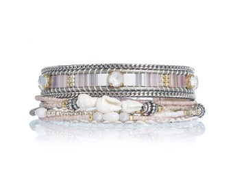 Miyuki tila bracelet - handwoven beaded bracelet - pastel pink bracelet - multiple rows bracelet set with Swarovski crystal - boho jewelry