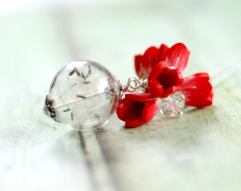 dandelion fluff necklace, Flower pendant necklace, Red tulips pendant, silver ball chain necklace, Floral necklace, Glass ball necklace