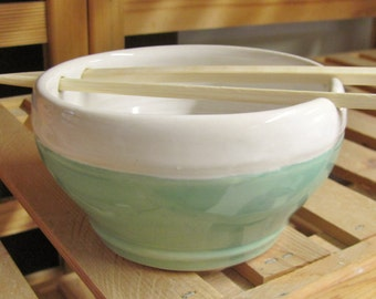 Bowl Ceramic Bowl Handmade Rice Bowl, Ceramic Pottery, Noodle Bowl with Chop Sticks, Handmade Stoneware Chattered  Pottery Mint Turquoise