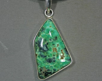 Turquoise and sterling Candelaria mine pendant James Saunders,  JS-pd-057