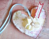 Where ever you go  Handmade Puffy Heart Decoration on vintage map paper